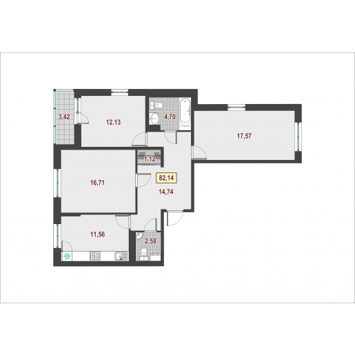 Планировка Трёхкомнатная квартира площадью 83.5 кв.м в ЖК ««Европейский»»