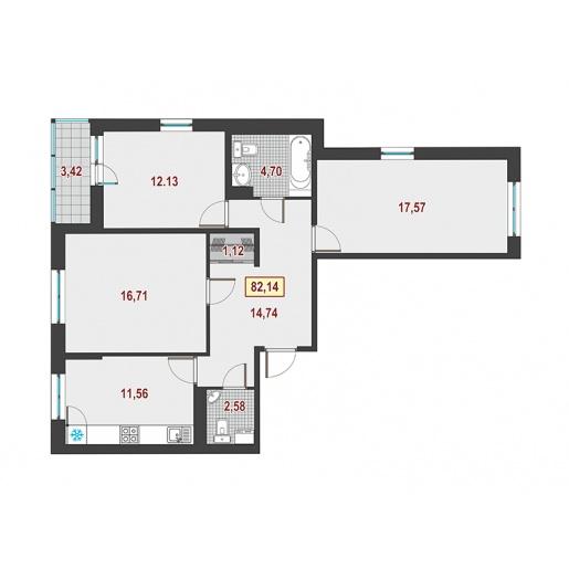 Планировка Трёхкомнатная квартира площадью 83.8 кв.м в ЖК ««Европейский»»