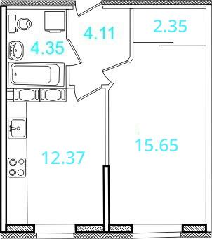 Планировка Однокомнатная квартира площадью 38.3 кв.м в ЖК «Европейский»