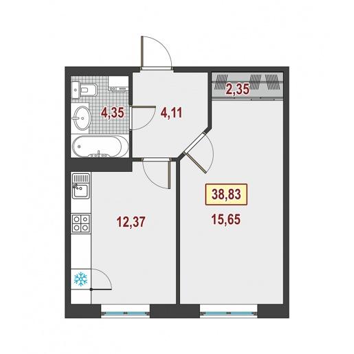 Планировка Однокомнатная квартира площадью 38.4 кв.м в ЖК ««Европейский»»