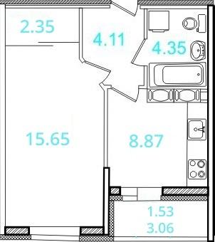 Планировка Однокомнатная квартира площадью 36.1 кв.м в ЖК «Европейский»