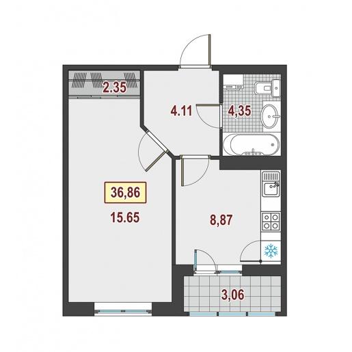 Планировка Однокомнатная квартира площадью 36.1 кв.м в ЖК ««Европейский»»
