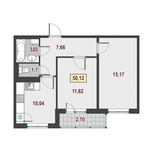 Планировка Двухкомнатная квартира площадью 50.12 кв.м в ЖК ««Европейский»»