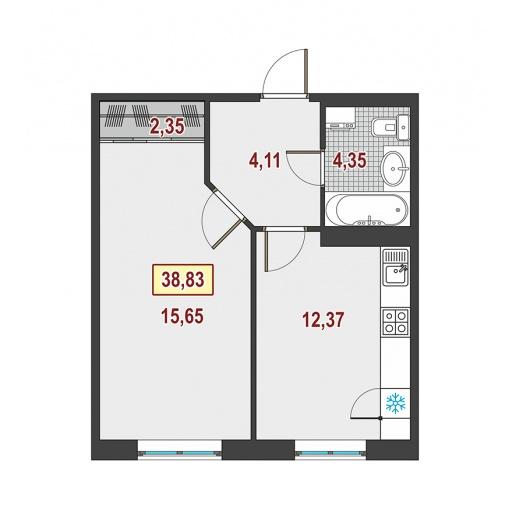 Планировка Однокомнатная квартира площадью 38.6 кв.м в ЖК ««Европейский»»