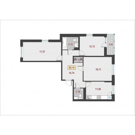 Планировка Трёхкомнатная квартира площадью 83.1 кв.м в ЖК ««Европейский»»