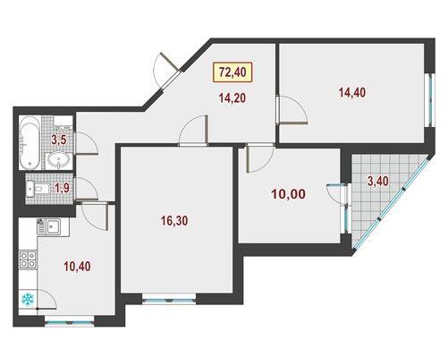 Планировка Трёхкомнатная квартира площадью 71.7 кв.м в ЖК «Европейский»