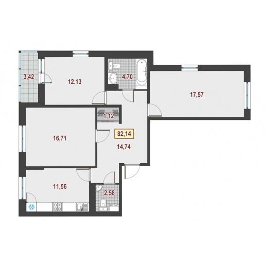 Планировка Трёхкомнатная квартира площадью 83.4 кв.м в ЖК ««Европейский»»